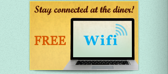 Stay connect at the diner with FREE WIFI.
